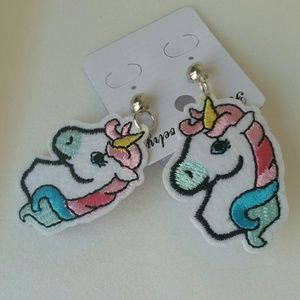 Jewelry - Unicorn Embroidered Pierced Earrings